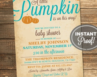 Pumpkin Baby Shower Invitation, Fall, Neutral, Baby Boy, Autumn Shower, Leaves, Blue, Orange, Printable (Custom Order, INSTANT DOWNLOAD)