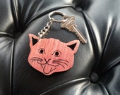 Wooden Laser Cut Cat Face Keychain