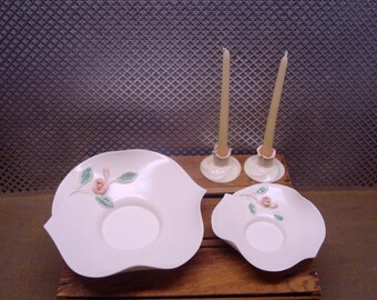 Laguna Pottery Caliente Bowl Set Candleholders made by Haldeman Pottery Burbank California