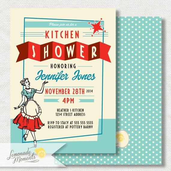50s Bridal Shower Invitation, Retro Kitchen Bridal Shower