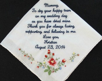 Mother of the Bride Embroidered Wedding Handkerchief