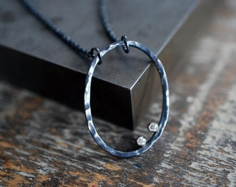 White Topaz and Oxidized Sterling Silver Oval Necklace