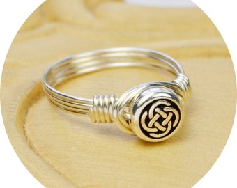 Irish Ring- Sterling Silver Filled Wire with Tiny Silver Plated Celtic Knot Bead - Size 4, 5, 6, 7, 8, 9, 10, 11, 12, 13, 14