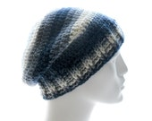 Ribby Wool Slouchy Hat, Men's Crocheted Beanie with Gray Stripes,  Medium to Large Size