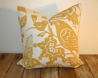 Thomas Paul Aviary Maize Pillow Cover / 20x20 / Bird pillow cover / yellow
