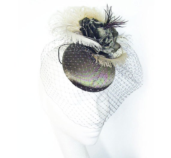 Taupe Button Pillbox Hat with a Birdcage Veil Hand Crafted in Silk.