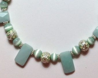"""Handmade 18"""" RECTANGLE Pale Green AMAZONITE  NECKLACE  with Silver Accents Cats Eye and Hook Closure"""
