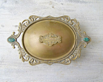 Antique Serving Dish, JERUSALEM Lidded Brass Oval Footed Ornate Candy Bowl Vintage Metal Turquoise Keepsake Box Vanity Desk Table Decoration