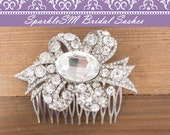 Bridal Comb, Wedding Comb, Rhinestone Bridal Comb, Crystal Hair Accessory, Wedding Hair Accessories, Silver Beaded Comb, SparkleSM Bridal