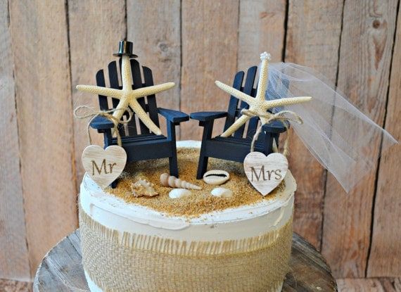 Navy Blue Nautical Beach Themed Wedding Cake