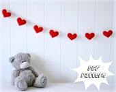 DIY PATTERN: Felt heart garland e-pattern - Instant download - Full instructions