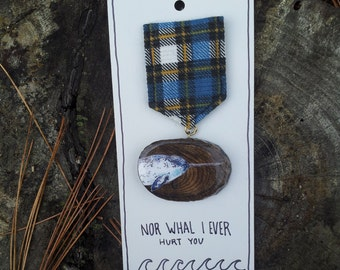 Nor whal I Ever Hurt You - Wooden Illustrated Narwhal Merit Badge