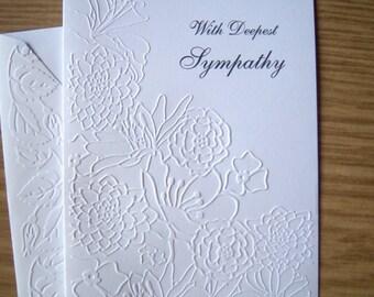 Embossed Peaceful Flowers Sympathy Card