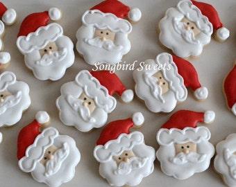 Mini Santa Cookies, Bite Sized Christmas Cookies (2 Dozen)