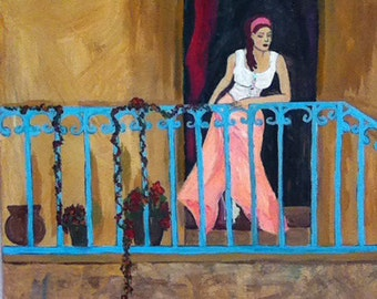 Folk Art Woman Italy balcony