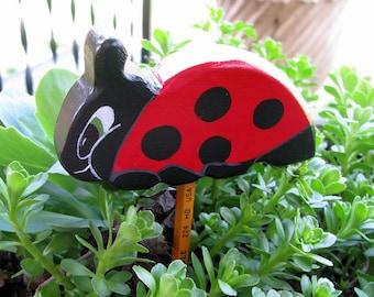 Lady Bug hand painted wooden home decor, shelf sitter, yard art, children's garden