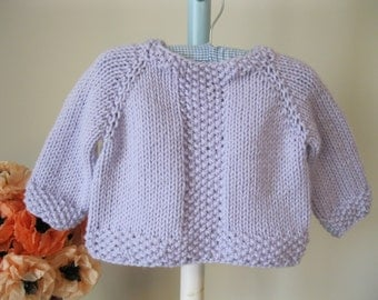 Handmade Baby Sweater..........lilac seed stitch pullover