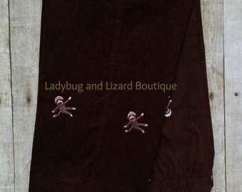 Boys Brown Monkey Corduroy Pants Size 12M-24M, 2T-4T