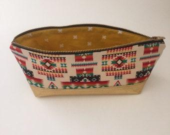 Aztec print and gold zipper pencil pouch