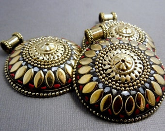 Tibetan Pendant - LARGE Tibetan Brass Round Pendant with Mother of Pearl and Red Coral Mosaic  (S43B8a-02)