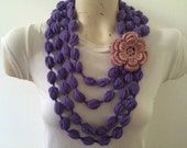 Bubble Puff Stitch Scarf Necklace With Flower