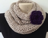 Beige Infinity Chunky Twist Cowl Scarf With Flower, Usa Seller
