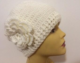 Women Beanie Hat With Flower