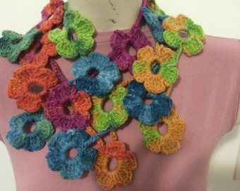 Crocheted Multicolor Flower Scarf, Flower Scarf
