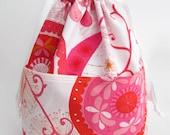 25% off -- Medium Reversible Drawstring Project Bag