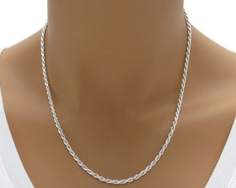 "925 Sterling Silver 24"" 2mm Diamond Cut Rope Chain Necklace"