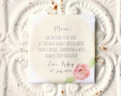 RESERVED for Samantha . MOTHER of the bride wedding handkerchief . for drying your tears . always your daughter / son . hankie . hanky