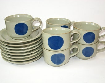 Iron Mountain Stoneware Lookout Mountain Set 7 Cups & Saucers + Bonus