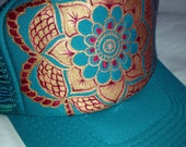 Jade trucker with hand painted mandala, goldy/deep red