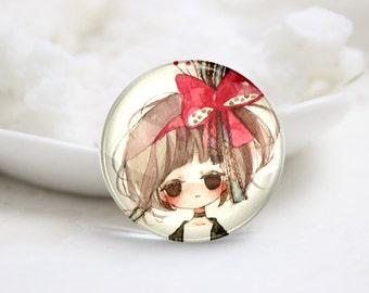 10mm 12mm 14mm 16mm 18mm 20mm 25mm 30mm Handmade  Photo Glass Cabochons -Lovely Girl (P1183)