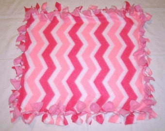 Fleece Tie Pet Blanket for Cats or Small Dogs - Pink Chevron
