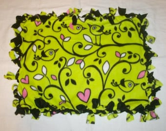 Fleece Tie Pet Blanket for Cats or Small Dogs - Birds on Chartreuse