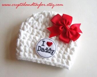 I Love Daddy Hat, Newborn Hat, Baby Crochet Hat, Photo Prop, White and Red Baby Hat, Baby Hat, Crochet Hat