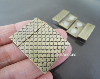 1 Set Antique Brass Magnetic Clasp - Finding Open Flat Rectangular Magnetic Buckle Clasp Clousure Fastener for Leather Cord