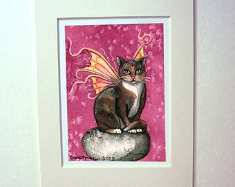 Cat Fairy art print Calico Cat watercolor painting matted 5 x 7 gift