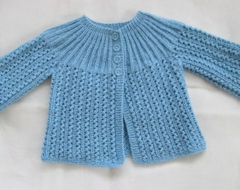 Baby Sweater Hand Knit Luxury Merino Wool  9M  12M Vintage Style Blue