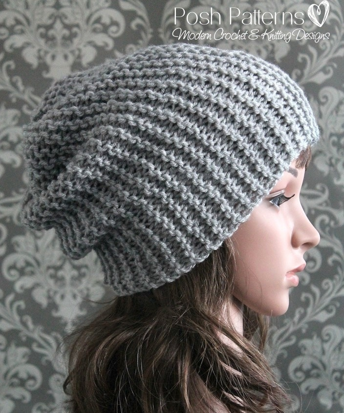 Easy Beanie Hat Knitting Pattern Free : Knitting PATTERN Easy Beginner Knit Slouchy Hat Pattern
