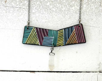 Geometric Necklace with Raw Crystal,Wood Necklace,Wooden Geometric Pendant, Colorblocking Crystal Necklace