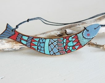 Fish necklace, wooden animal necklace, colorful necklace, ocean necklace, blue and red necklace, wood necklace, unique gift for women