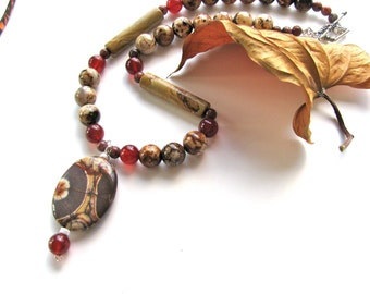 Earthy necklace, Birds Eye Rhyolite pendant with Carnelian and Agate, Sterling Silver, beaded necklace, gemstones 138