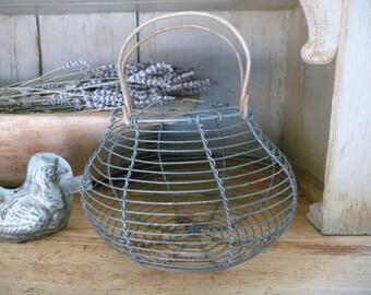 Vintage Wire Basket Egg Basket Fruit Bowl Rustic Kitchen French Decor Table Centerpiece