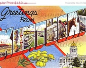 ON SALE Greetings From Kentucky Large Letter Postcard Digital Image Download No. 5108