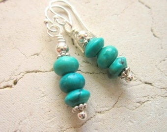Genuine Turquoise Earrings.  Semi Precious Stone Earrings. Turquoise Jewelry. Genuine Turquoise Jewelry. Green Turquoise Dangle Earrings