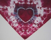 Tie-dyed Bandana Scarf with Heart in Purple and White