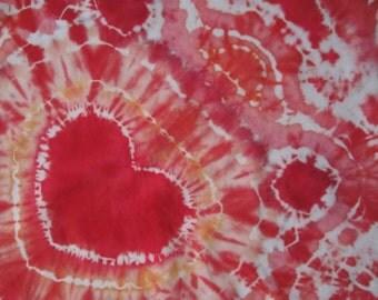 Heart Bandana, Tie-Dyed, Reds, Pinks, Orange, and White