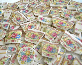 "MOSAIC China Tiles - Beautiful Vintage Floral Pattern - Mt. Clemens ""Mildred"" - 100 Mini Tiles"